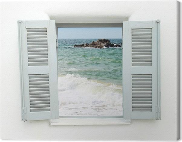 Quadro su tela finestra in stile greco con vista mare - Quadro finestra ...