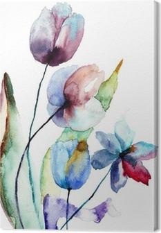 Quadro su Tela Fiori di tulipani • Pixers® - Viviamo per il cambiamento
