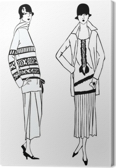 Quadro su Tela Flapper girls (1920 stile): Fashion Party Retro