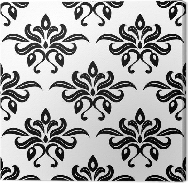 Quadro su Tela Foliate Moderno bianco e nero modello arabesque