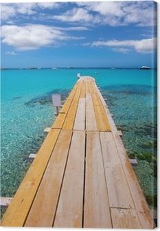 Quadro su Tela Formentera Ses Illetes spiaggia di Illetas molo e Ibiza