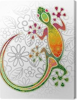 Quadro su Tela Gecko Floral Tribal Art