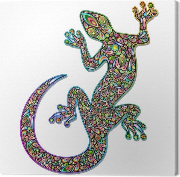 Quadro su tela gecko lizard geko psychedelic art design - Il geco porta fortuna ...
