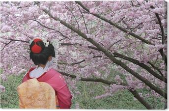 Quadro su Tela Geisha e Sakura fioritura albero