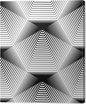 Quadro su Tela Geometrico in bianco e nero a righe senza soluzione di modello, in bianco e nero ve
