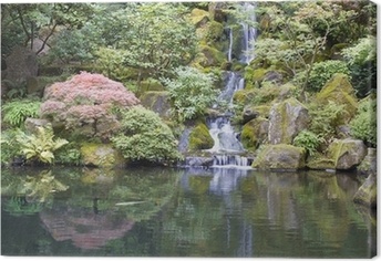 Quadro su Tela Giardino giapponese Koi Pond con cascata