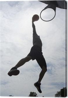 Quadro su Tela Giocatore di basket slam dunk silhouette