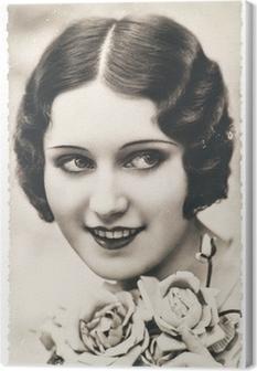 Quadro su Tela Giovane donna con fiori di rosa, ca. 1920 Paris