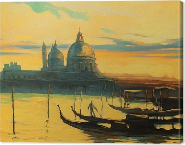 Quadro su Tela Gondole sul pontile a Venezia, dipinto di colori ad ...