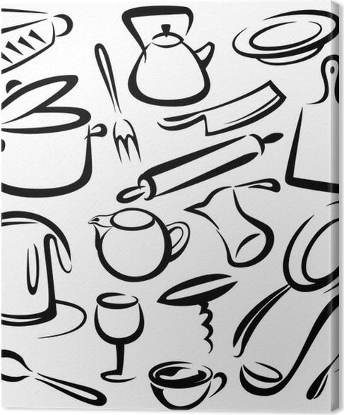 Quadro su Tela Grande set di utensili da cucina, disegno vettoriale ...