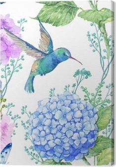 Quadro su Tela Illustrazione del modello senza soluzione di continuità in acquerello, modello, ornamento di design.wallpaper tessile, acquerello fiori di ortensia e libellule e piccolo colibrì blu