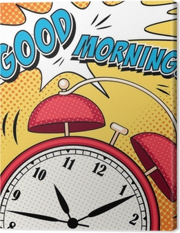 Quadro su Tela Illustrazione di fumetti con sveglia in stile pop art