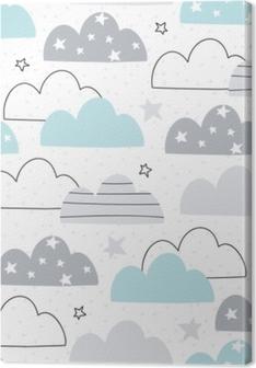 Quadro su Tela Illustrazione di vettore del reticolo senza giunte delle nubi