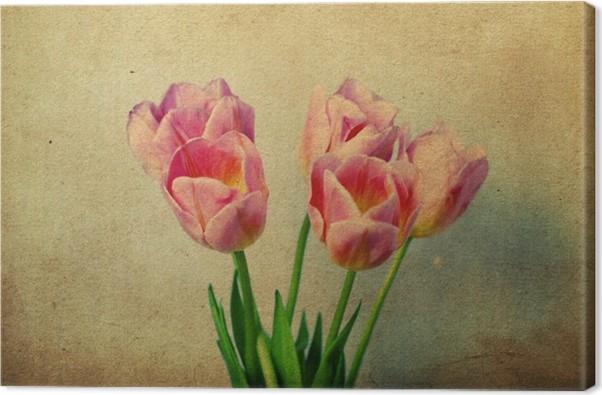Quadro su Tela Immagine con tulipani rosa • Pixers® - Viviamo per il ...