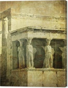 Quadro su Tela Immagine d'epoca di Cariatidi, Acropoli, Atene, Grecia
