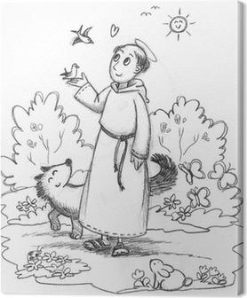Quadro Su Tela San Francesco D Assisi In Un Bosco Con Gli Animali