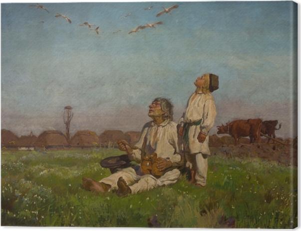 Quadro su Tela Józef Chełmoński - Cicogne - Reproductions