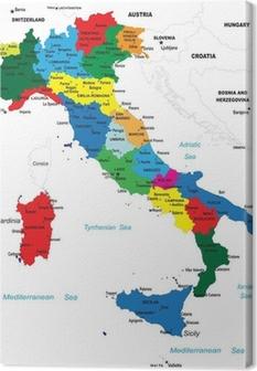 Quadro su Tela La mappa politica d'Italia