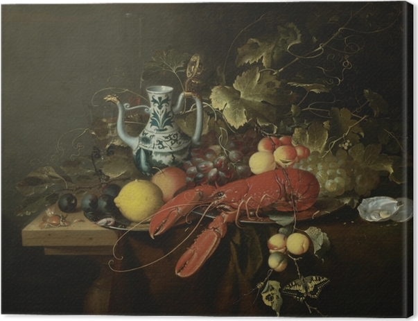 Quadro su Tela Laurens Craen - Still Life With A Lobster On A Pewter Plate, Lemons, Grapes, Apricots, Oysters - Riproduzioni