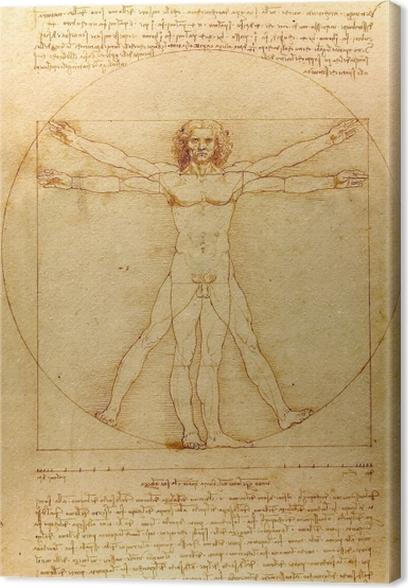 Quadro su Tela Leonardo da Vinci - Uomo vitruviano - Riproduzioni