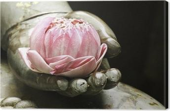 Quadro su Tela Loto rosa in mano di Buddha