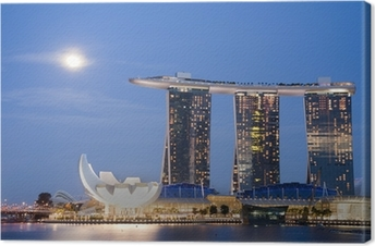 Quadro su Tela Luna sopra Marina Bay Sands