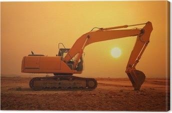 Quadro su Tela Macchina caricatore escavatore durante il movimento terra lavora all'aperto
