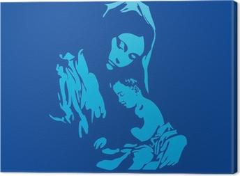 Quadro su Tela Madre Maria con Gesù Cristo in blu