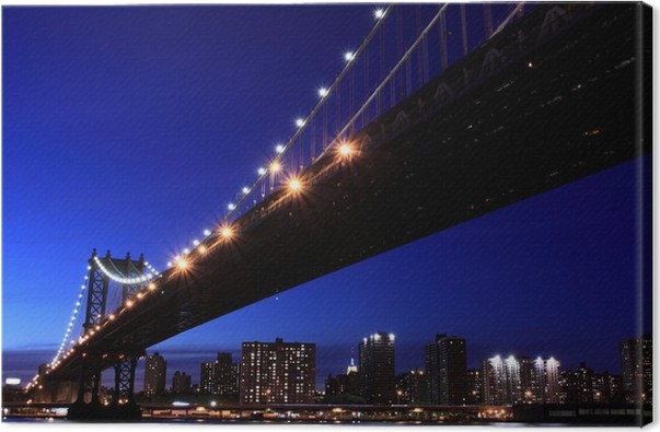 Quadro su tela manhattan bridge e skyline di manhattan alla notte si