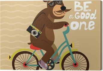 Quadro su Tela Manifesto Hipster con l'orso disadattato