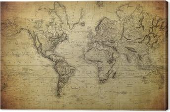 Quadro su Tela Mappa d'epoca del mondo 1814 ..