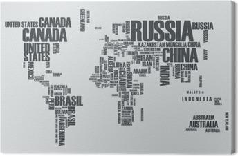 Quadro su Tela Mappa del mondo: i contorni del paese è costituito dalle parole