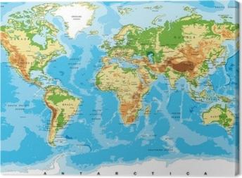 Quadro su Tela Mappa fisica del mondo