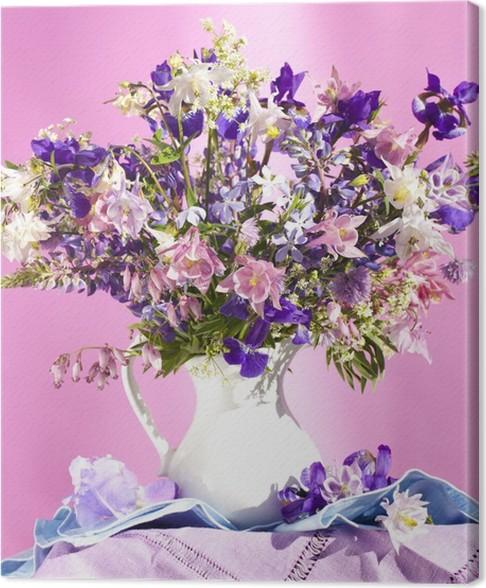 Quadro su Tela Mazzo di fiori primaverili, iris e aquilegia • Pixers ...