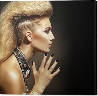 Quadro su Tela Moda Rocker Style Girl Model Portrait. Acconciatura