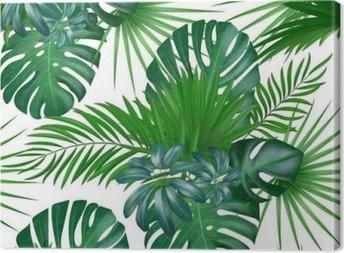 Quadro su Tela Modello di vettore esotico botanico realistico disegnato a mano senza cuciture con foglie di palma verde isolato su sfondo bianco.