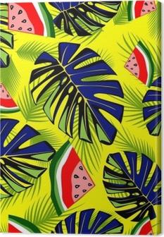 Quadro su Tela Modello tropicale senza cuciture con foglie verdi e gustosa anguria.