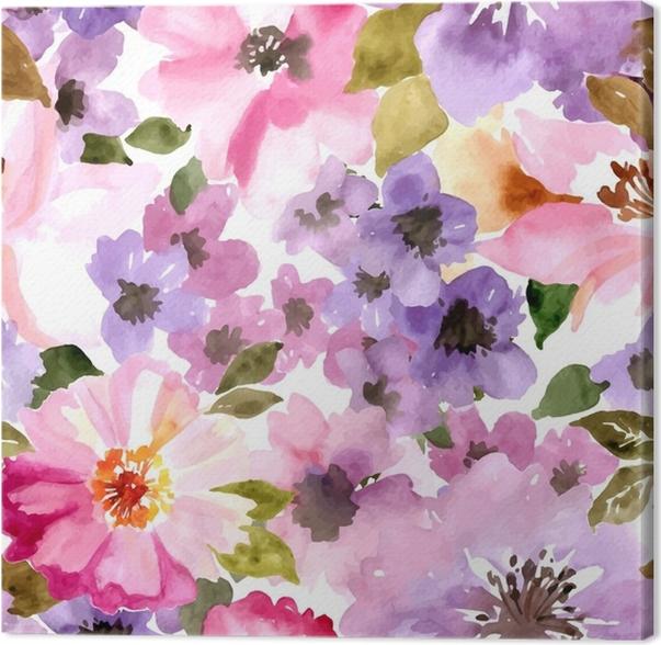 Quadro su Tela Modello vettoriale con fiori e piante. modello ...