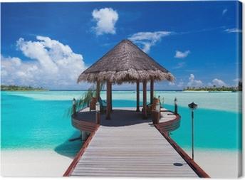 Quadro su Tela Molo con vista mare su isola tropicale