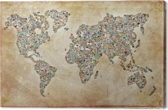 Quadro su Tela Mondo Foto Mappa, texture vintage