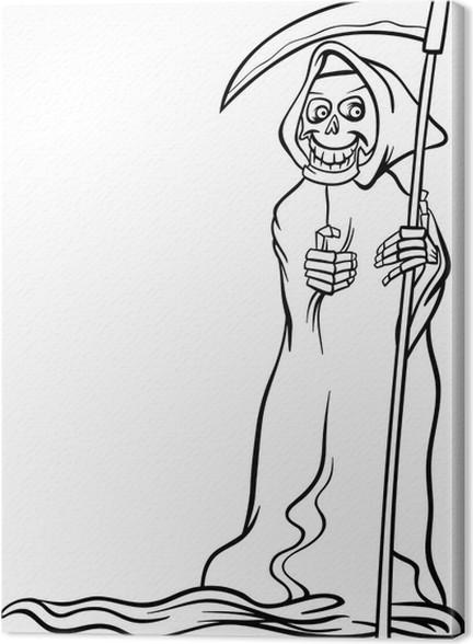 Quadro su tela morte cartone animato scheletro per libro - Scheletro foglio da colorare ...
