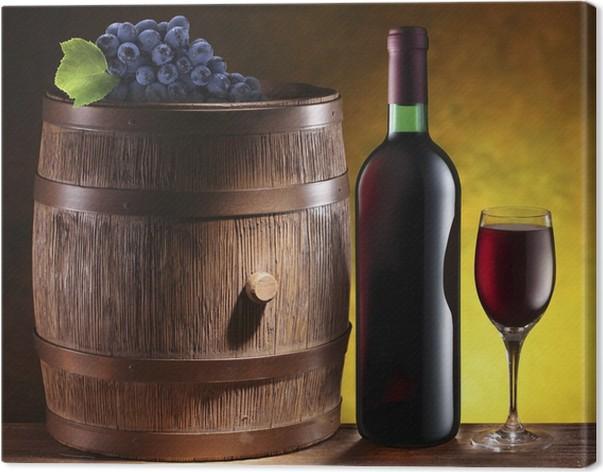 Quadro su Tela Natura morta con botte di vino, bottiglia e bicchiere ...