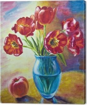 Quadro su Tela Natura morta con tulipani e pesca, pittura a olio ...