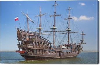 Quadro su Tela Nave galeone pirata sulle acque del Mar Baltico a Gdynia, Polonia