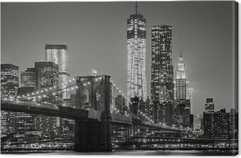 Quadro su Tela New York by night. Ponte di Brooklyn, Lower Manhattan - un nero