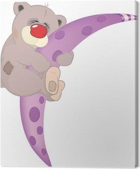 Quadro su tela orso sulla luna cartone animato u2022 pixers® viviamo