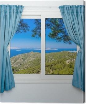 Quadro su Tela Paesaggio con una vista attraverso una finestra con le tende