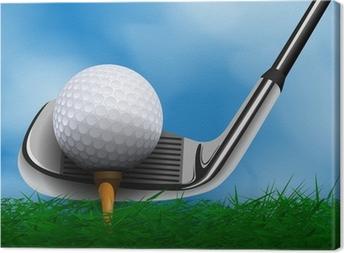 Quadro su Tela Palla da golf e club a fronte di erba