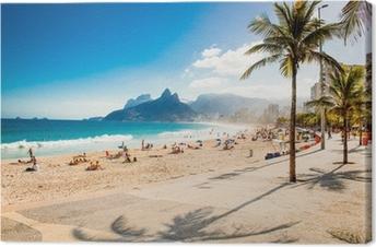 Quadro su Tela Palme e due fratelli della montagna sulla spiaggia di Ipanema, a Rio de Janeiro