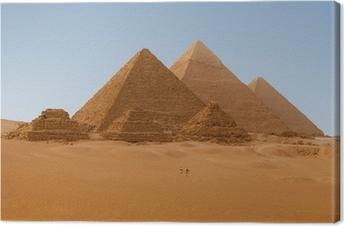 Quadro su Tela Panaromic vista di sei piramidi egiziane di Giza, Egitto